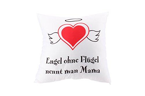 Kissen für Mütter mit Aufdruck: Engel ohne Flügel nennt man Mama / Kopfkissen als Geschenk zum Muttertag, Weihnachten & Geburtstag / Deko-Kissen & Zierkissen in 40x40 cm