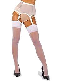66abd1944b3 sofsy Sheer Thigh High Suspender Stockings for Garter Belt and Suspender  Belt Plain 15 Den