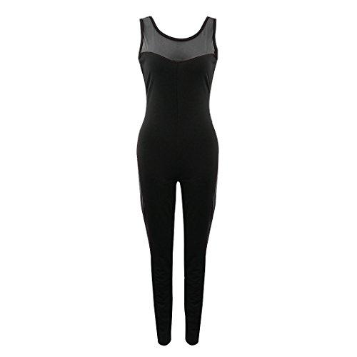 Wenyujh Femmes Combinaison de Sport Sans Manche Maille Dos Nu Sexy Pantalon Jumpsuit Yoga Fitness Jogging Course Noir