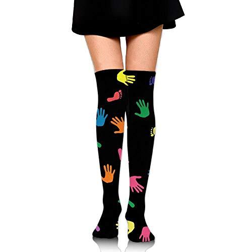Kailey hello Funny Footprints Womens Socks Knee High Cycling Socks Thigh High Stockings (Open Toe Thigh High Socks)