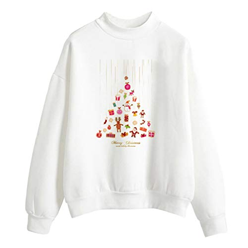 Soupliebe Frauen Weihnachten Print Langarm Damen Casual Bluse Kurze Tops Crop Shirt Kapuzen Sweatjacke Kapuzenpullover Hoodie Pullover Sweatshirt