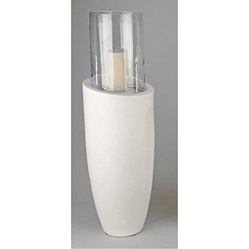 formano Windlicht, Bodensäule mit Glasaufsatz H. 77cm Keramik Creme weiß