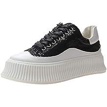bb26390550 Zapatos de Plataforma para Damas Moda Lentejuelas Negro Blanco Zapatos  Planos con Cordones Creepers Verano Mujer