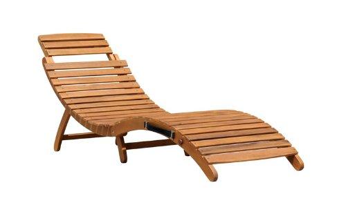 Charles bentley - lettino prendisole pieghevole e reclinabile - forma sagomata - legno