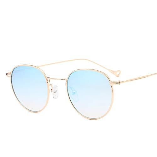 SYQA blau getönte Sonnenbrille Männer grün dünn Metall gelb klar Sonnenbrille für Frauen Goldrahmen UV400,C2