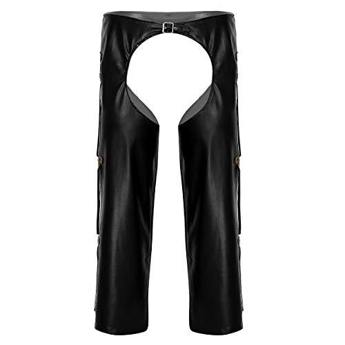 ranrann Herren Leder Hosen Wetlook Tight Pants Männer Schwarz Kunstleder Leggings Offene Lange Hose Ouvert-Pants Dessous Unterwäsche M L XL XXL Schwarz XXL