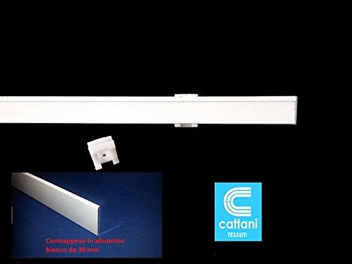 Binario completo per tende a pannello a finestra-larghezza cm 40-45-50-55-60-65-70-75-80-85-90-95-100-profilo in allumino con velcro+peso inferiore - optional:coppia supporti fissaggio senza viti (g - 70 cm)