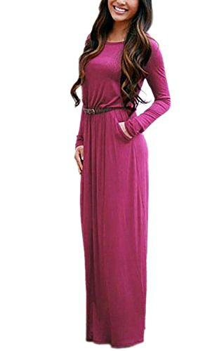 Rosen Langes Kleid (RUIGO Damen Lang Schulterfreies Schlitz-Tasche Partei-Kleid-Maxi langes Abendkleid (EU 38, Rose rot))