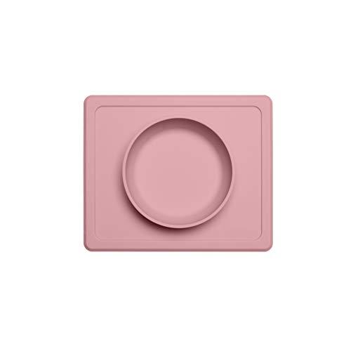 Bol de table en silicone en une pièce pour bébé, vaisselle en silicone, antidérapante, résistante à la chute, mini bol alimentaire, bol à ventouse pour tout-petits, bébés (Couleur : Pink)