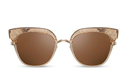 Cheapass Sonnenbrille Cat-Eye Rund-e Gläser Gold Braun Designer-Brille Damen Frauen
