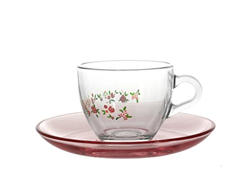PASABAHCE 97984 Spring Lot de 6 Tasses à café avec Assiette, 8,5 cl, en Verre Transparent/Multicolore