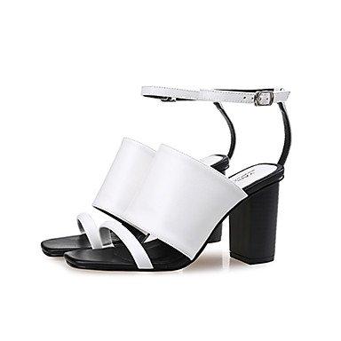 LvYuan Da donna-Sandali-Formale / Casual-Alla schiava-Quadrato-PU (Poliuretano)-Nero / Bianco / Nero e bianco Black