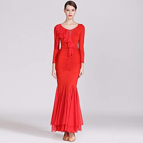 Z&X Modern Dance Kleid für Frauen große Pendel Rock Ballsaal Kostüm Wettbewerb Milch Seide / 30D Chiffon,M