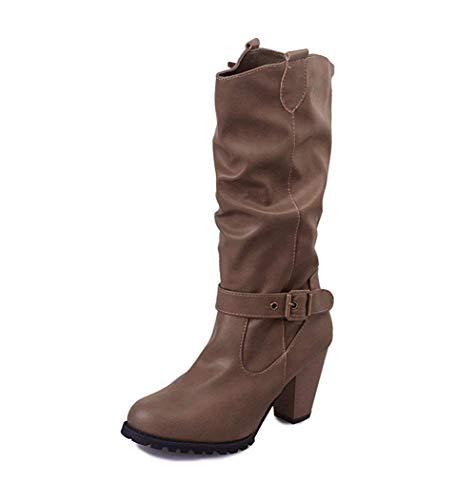 Metall-heel Stiefel (DEED Rough Heels Stiefel Runde Metall Gürtelschnalle Ärmel Biker Boots Schuhe im Herbst und Winter,38 EU,Khaki)