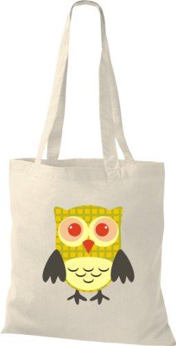 Sacchetto Di Stoffa Gufo Colorato Borsa Da Trasporto Carino Con Puntini Di Karos Stripe Owl Retrò Colore Diverso Natura