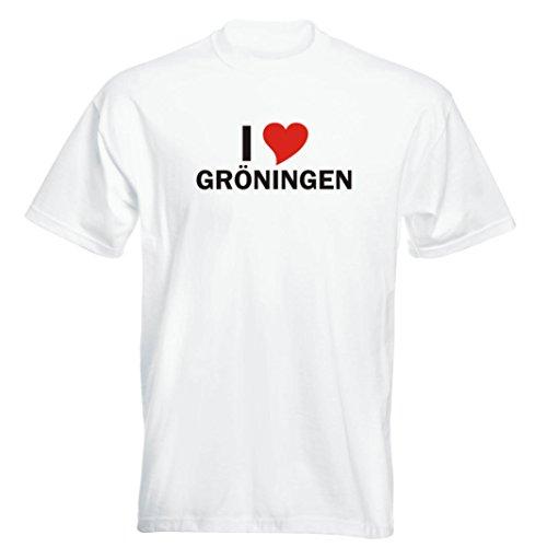 T-Shirt mit Städtenamen - i Love Gröningen - Herren - unisex Weiß