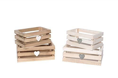 Mercury set 2 cassettine in legno (cm.20x13x8) (cm. 17x11x7,5) colori assortiti grigie o bianche-comunicare colore al momento dell'ordine