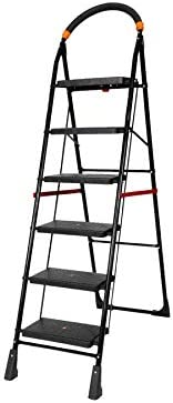 Happer Premium Foldable Step Ladder, Clamber, 6 Steps (Black & Ora