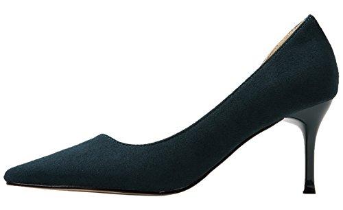 Verde Fiesta Zapatos de tacón Mujer De punta estrecha Elegante D'orsay Boda Tacones altos De BIGTREE 37 EU