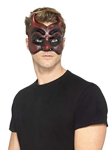 Smiffys Herren Maskerade Teufels Maske, One Size, Rot, 45091