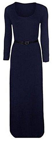 Frauen mit Gürtel Langarm Stretch-Ebene Maxi-Kleid Trikot plus size maxi Navy