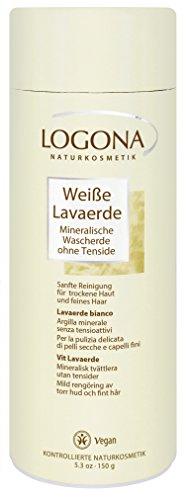 LOGONA Naturkosmetik Weiße Lavaerde Pulver, Ghassoul, Porzellan Tonerde für Haar- & Körperpflege, Natürlich & Vegan, Bei sehr trockener Haut, Ohne Tenside, (Haare Weiß)