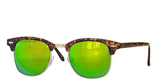 Retro Sonnenbrille Clubmaster clubma Vintage Sonnenbrille (leo - gold grün verspiegelt)