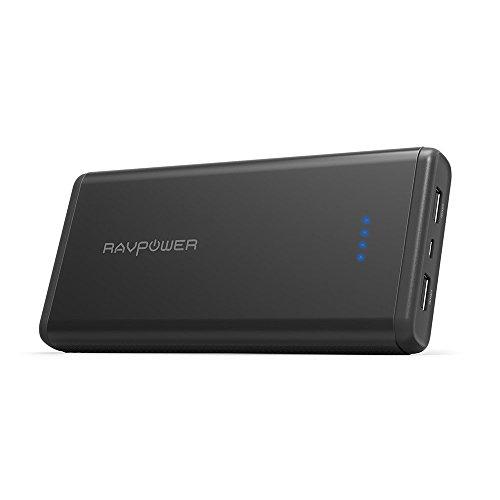Batería Externa 20000mAh de RAVPower Apto para Aviones con Salida de 5V/3.4A Entrada 2.4A, Carga iSmart, Protecciones de Seguridad Integradas para el iPhone, iPad, Galaxy, y Dispositivos Android