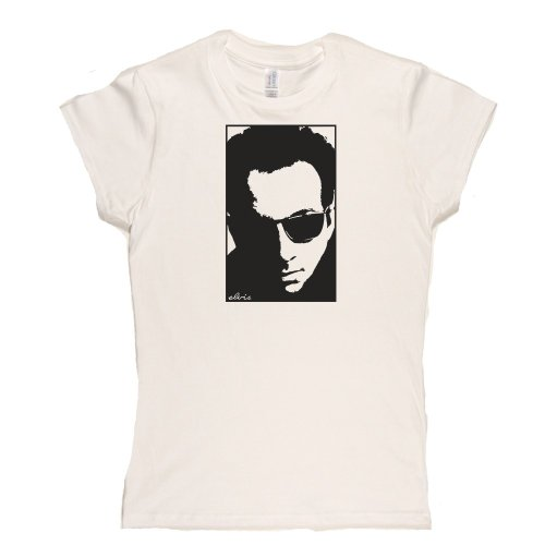 Elvis Costello Portrait Womens Fitted T-Shirt Weiß