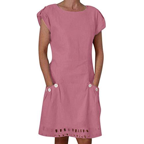 ider Damen Kurzarm Mode A-Linien Kleid Strandkleider Einfarbig Boho Knielang Minikleid Shift Daily Button-Dekor Kleider ()