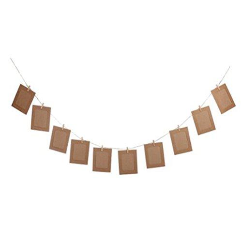 OULII 10pcs colgante DIY álbum Garland Kraft papel foto marco cuerdas cuerda conjuntos para decoración de la boda