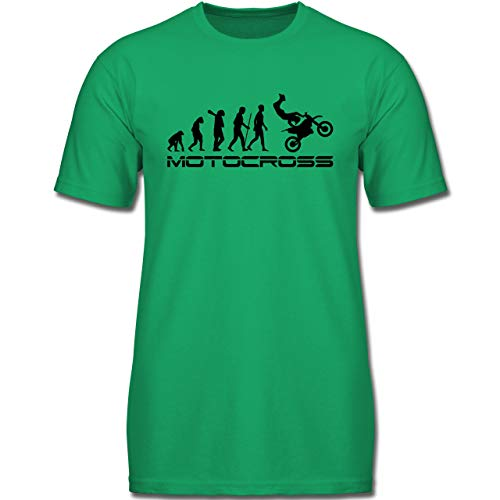 Baumwolle Rasen Kurzarm Shirts (Evolution Kind - Motocross Evolution - 152 (12-13 Jahre) - Grün - F130K - Jungen Kinder T-Shirt)