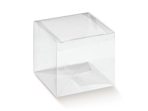 10 STÜCK Gastgeschenk Kartonage AUTOMATICO Trasparente, transparent, 120 x 120 x 120, Geschenkschachtel Verpackung für Gastgeschenke Hochzeitsmandeln Pralinenschachtel