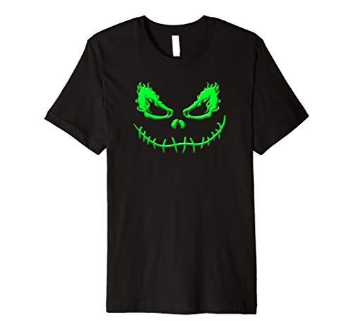 (Grünes Feuer Augen genäht Lächeln Scary Gesicht Halloween T-)
