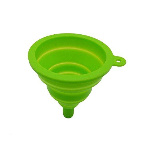 Für Trichter Pulver (Rohans klappbar Roll-Trichter, 2Pack, FDA genehmigt Silikon Faltbar Trichter für Pulver und Flüssigkeit Transfer für einfaches Ausgießen, Silikon, grün, Large)
