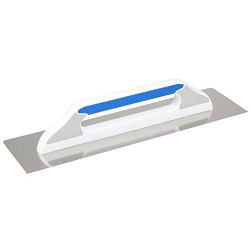 DEWEPRO® Schweizer Glättekelle Glättkelle - Aufziehplatte - Aufziehglätte - Traufel - Edelstahl 480x130mm - glatt, mit abgerundeten Ecken an einer Seite - hochwertiger 2-K-Griff