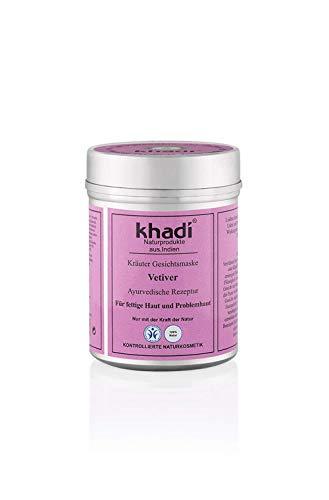 khadi Gesichtsmaske Vetiver 50g I Natürliche Gesichtspflege für fettige Haut und Problemhaut I Ayurvedische Hautpflege zur Behandlung von unreiner Haut I Naturprodukt 100% pflanzlich