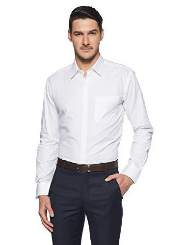Park Avenue Men's Plain Slim Fit Formal Shirt (PMSX11998-W1!_White!_42)