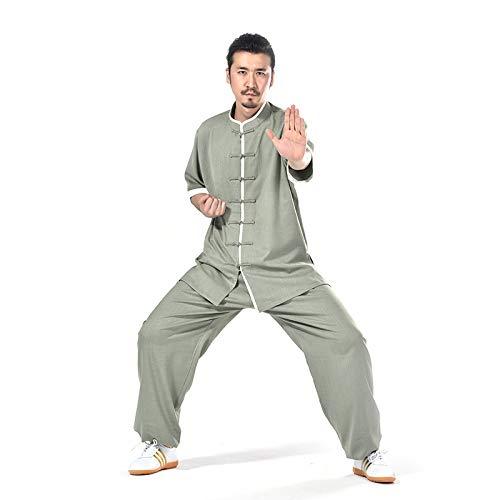llh Mann Tai Chi Uniform Lang Arm Anzug Kampfsport Trainingskleidung Leicht Und Geschmeidig Herren Meditations Anzug Zen Baumwolle Flachs Tang-Klage Nationale Kostüme Mann's Hemd,XXXXL