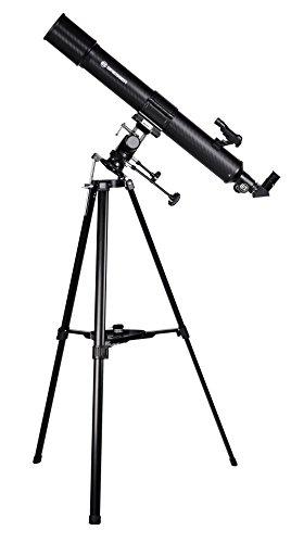 Bresser Refraktor Teleskop Taurus NG 90/900 mit Sonnenfilter, MPM Montierung, 3-Bein-Stativ und Smartphone Kamera Adapter zur Himmels- und Sonnenbeobachtung, schwarz -