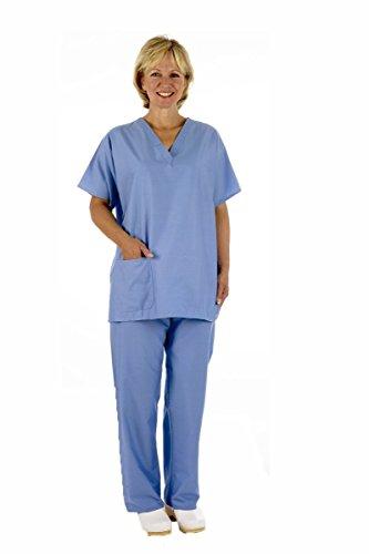 Medizinische OP-Bekleidung, Set mit Hosen und Top, Unisex, Blau Oder Grün mit Caresupermarket-Stift Gr. Large, Ceil Blue/ Pale Blue