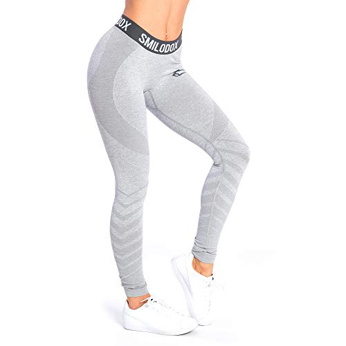 SMILODOX Sport Leggings Damen \'Vira\' | Seamless - Figurformende Tight für Fitness Gym Yoga Training & Freizeit | Sporthose - Workout Trainingshose, Farbe:Grau, Größe:M