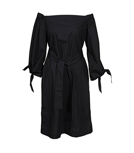 OTTOD AME Damen Kleid Schulterfrei in Schwarz Nero 46 (Ärmel Lange Ames)