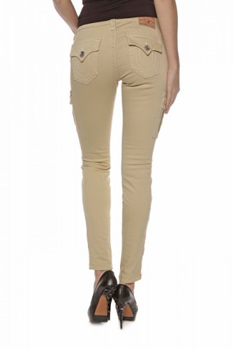 True Religion Damen Jeans Skinny Skinny Jeans Krista SUPER Skinny CAR Wash HW Sand Vortex, Farbe: Beige, Größe: 30 High Rise Flare Jeans