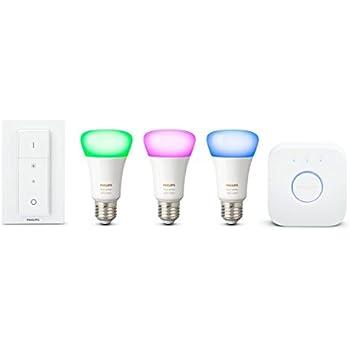 Philips Hue Kit de démarrage White and Color Ambiance avec 3xE27 10W [pont et interrupteur avec variateur inclus], un kit de lampes connectées - Ampoules à variation de couleurs - Fonctionne avec Alexa