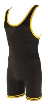 MatmanErwachsene 83 Nylon Wrestling Ringeranzug, Mehrfarbig (schwarz / gelb), X-Large -