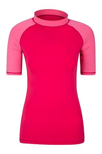 Mountain Warehouse Kurzärmeliges Badeshirt mit UV-Schutz für Damen - LSF50+, schnelltrocknendes Rash Guard, Flache Nähte - Für Schwimmen, Strand - unter Neoprenanzug Rosa DE 46 (EU 48)