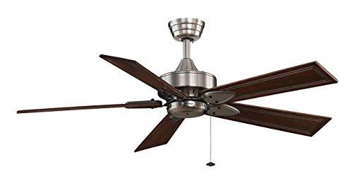 CASA BRUNO ventilador de techo Windpointe, estaño cromado con aspas de bambú