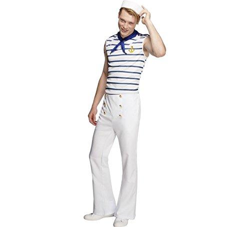 Generique - Seemanns-Kostüm für Herren Weiss-blau M (Blaue Und Weiße Kostüm)