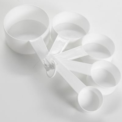 Lakeland Value Dishwasher Safe Plastic White Nestable Measuring Cups Set